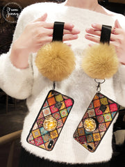 Fox Fur Ball Soft Cases For Iphone7 7Plus Women Lady Girls' Bags With Strap Covers For Iphone8 8plus 6 6s Plus Mobile Phone Case