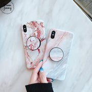 From Jenny Hot Stylish Stander Marble Matte TPU Soft Cover For IPhone X 8 8plus 6 S + 6splus 7 7Plus Fashion Phone Case