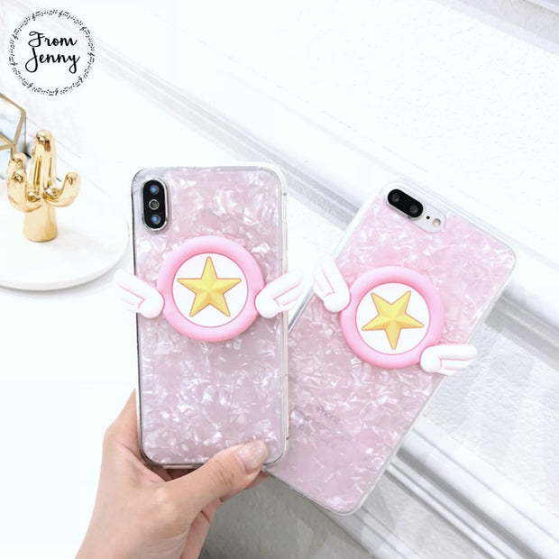 FromJenny Pink Fantasy Fritillary Star Wings Phone Case For Iphone X 7 7plus 6/6S Plus 8 8plus Case 2018 Fashion Soft TPU Cover