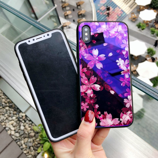 Girl Fashion Flora Pattern Blue Ray Light Mobile Phone Shell Cases For IPhone X 8 6 6s 7 Plus Tempered Glass+Soft TPU Cover Capa