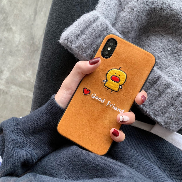 GlamPhoneCase Embroidery Good Friend Phone Case For IPhone XS Max XR XS 8 8plus 7 7plus 6/6S Plus Stylish Soft Tpu Back Cover