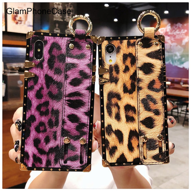 GlamPhoneCase Fashion Leopard Square Phone Case For IPhone XS Max XS XR X 8plus 8 7plus 7 6S/ 6 Plus Soft Strap Cover Case
