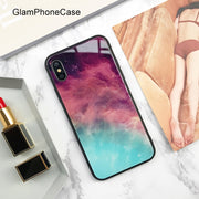 GlamPhoneCase Granite Marble Protective Phone Case For IPhone 6 6S 7 8 Plus X Hard Glass Phone Back Cover Coque