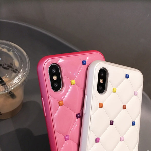 GlamPhoneCase Luxury Color Rivet Metal Leather Cover Case For Iphone X 6 S 6S Plus 7 7plus 8 8plus Soft Phone Cases Coque