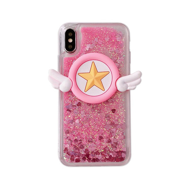 GlamPhoneCase Pink Glitter Sequins For Iphone Case Quicksand Design For IPhone 8 8plus X 7 7plus 6 6splus Hard Star Wings Cover