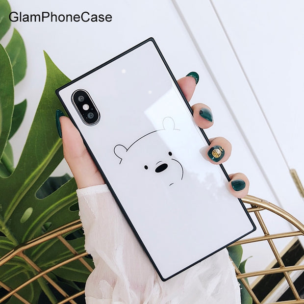 GlamPhoneCase Square White Bear Glass Cell Phone Case For Iphone 7plus 8 Plus 6plus 6Splus Hard Capa For Iphone X 6 7 8 6S