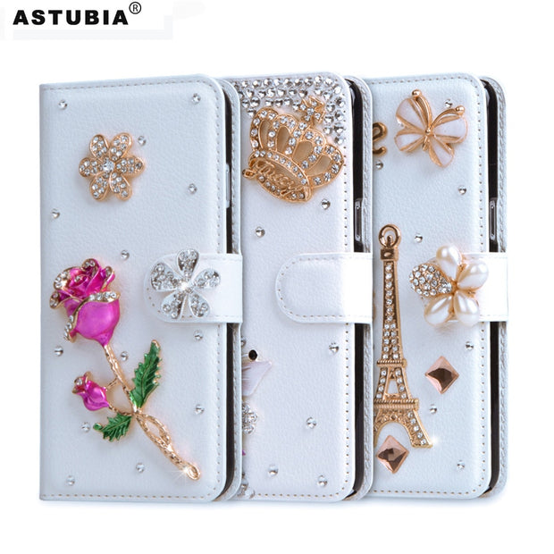 Glitter Case For IPhone 7 Wallet Flip Leather Case For Apple IPhone 4 4s 5 5s SE 5C 6 6s Plus Diamond Cover Rhinestone Phone Bag