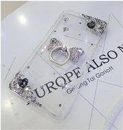 Glitter Diamond Soft Silicone Case For Iphone 6 6s 7 8 Plus X XS MAX XR Finger Ring Cover For Samsung Galaxy S8 S9 S7 Note 8 9