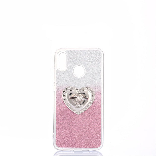 Gradient Color Case For Huawei P20 Lite Cover Heart-shaped Ring Holder Stand Glitter Case For Huawei Nova 3e Cover 5.84''