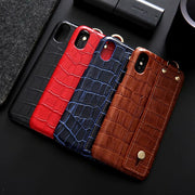 Hand Strap Crocodile Real Leather Case For Iphone 6 6s For Iphone 7 Plus For Iphone 8 Plus For Apple X XS Genuine Leather Cover