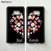 Heart Flowers Best Friends Love Pair BFF TPU Phone Cases For Samsung S5 S6 S6edge Plus S7 Edge S8 Plus S9 Plus Note5 Note8 Note9