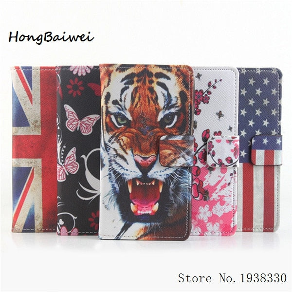 Hongbaiwei 4 Styles Painted Case Eiffel Tower Butterfly Wallet Leather Case For Alcatel One Touch Pop 2 M5 (4.5) 5042 Dual SIM 5