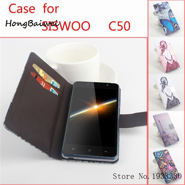 Hongbaiwei 5 Style Luxury Leather Case Siswoo Longbow C50 Case, Flip Pu Leather Silicon Back Cover Siswoo Longbow C50 Phone Case