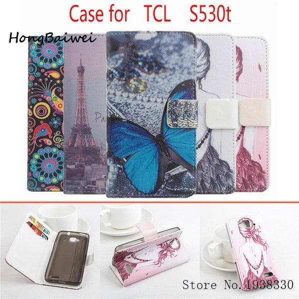 Hongbaiwei 5 Styles Fashion Painted Wallet Leather Case For Alcatel One Touch Idol Mini 6012X 6012A 6012W 6012D TCL S530T Phone