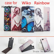 Hongbaiwei 5 Styles Painted Wiko Rainbow Case Flip Stand PU Leather Cover Case For Wiko Rainbow Case Butterfly Tower Protective