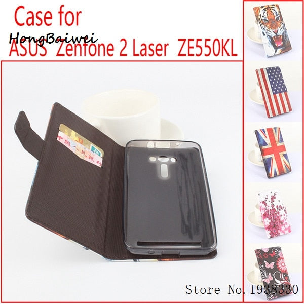 Hongbaiwei 5 Styles Painted Zenfone ZE550KL Flip Case, Flip Leather Case Battery Housing For Asus Zenfone 2 Laser ZE550KL (5.5 I