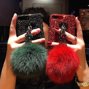 Hot New Rhinestone Quicksand Pompom Phone Case For OPPO F9/F7/A83/2018 F1S/A3S/F5 Youth