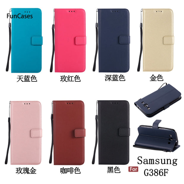 Hot PU Leather Case SFor Aksesuar Samsung G386F Bracket Case Carcasa Transparent Rhinestone Case For Samsung Galaxy Core 4G LTE