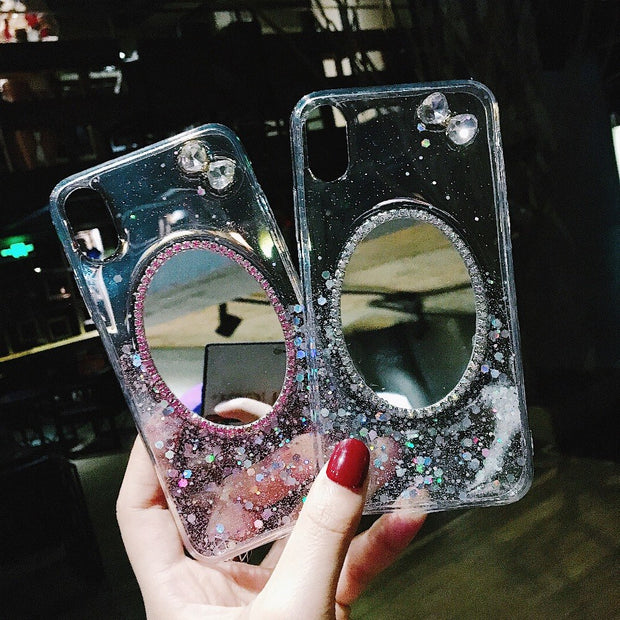 Hot Sale Rushed Diamond Cases Luxury Mirror Tpu Capa Soft Silicone For Iphone X 6 6s 6plus 7 8 Plus Shell Cover For I7 I7p