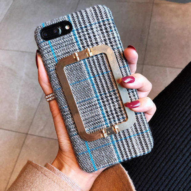 Houndstooth Pattern AppleX Mobile Phone Shell Xr Metal Buckle Iphone8plus 7P Soft Cover XS MAX Temperament 6s