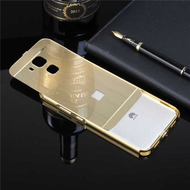 "Huawei Nova Plus 5.5"" Case Mirror Plating Metal Frame With Burshed Back Cover Hard Phone Case For Huawei Maimang 5 G9 Plus 5.5"""