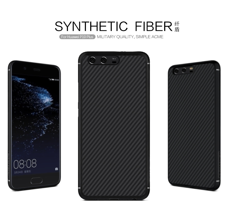 new product 9846f b030f Huawei P10 Plus Case Nillkin Synthetic Carbon Fiber PP Shield Back Cover  Case For Huawei P10 Plus