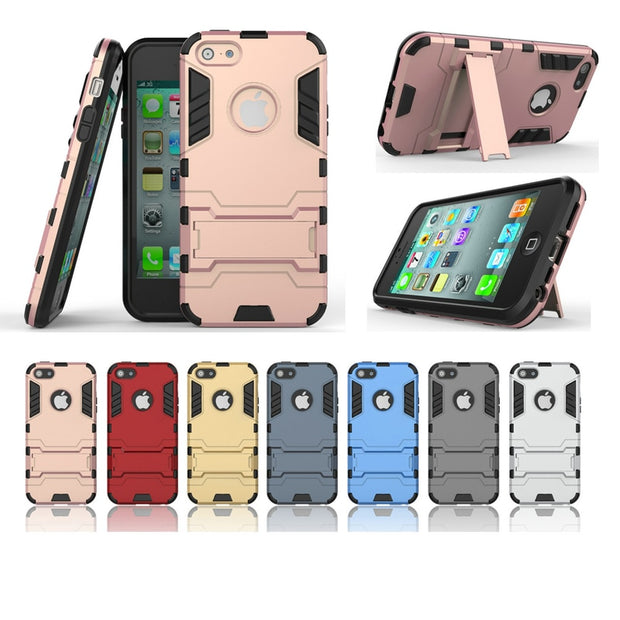 Hybrid Dual Heavy Duty 3D PC Stand Shockproof Combo Protector Back Cover Case For Apple Iphone 5/5S/5C 6/6S 6 Plus/6S Plus