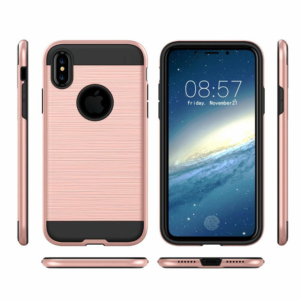 Hybrid Rugged Armor Case For Apple IPhone X XR XS Max Shockproof Protective 2 In 1 Glossy TPU PC Hard Phone Cover