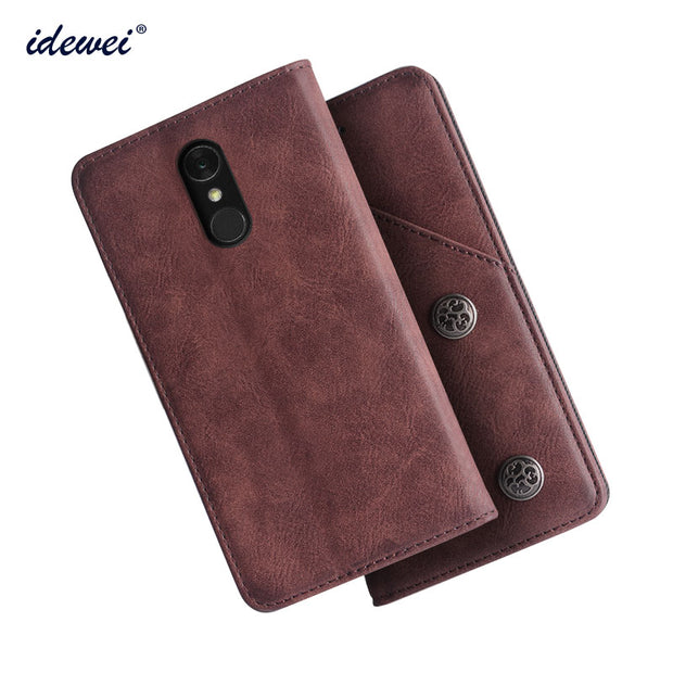 IDEWEI For LG Q7 Case Cover Luxury Leather Flip Case For LG Q7+ Q7 Plus  Protective Phone Case