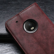 IDEWEI For Motorola Moto G5 Plus Case Cover Luxury Leather Flip Case For Moto G5 Plus Protective Phone Case Retro Back Cover