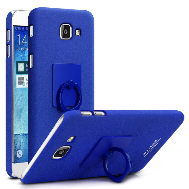 IMAK Contracted Frosted Cowboy Quicksand Back Cover Case For Samsung Galaxy A5 2017 A5200 With Ring Holder Free Screen Protector