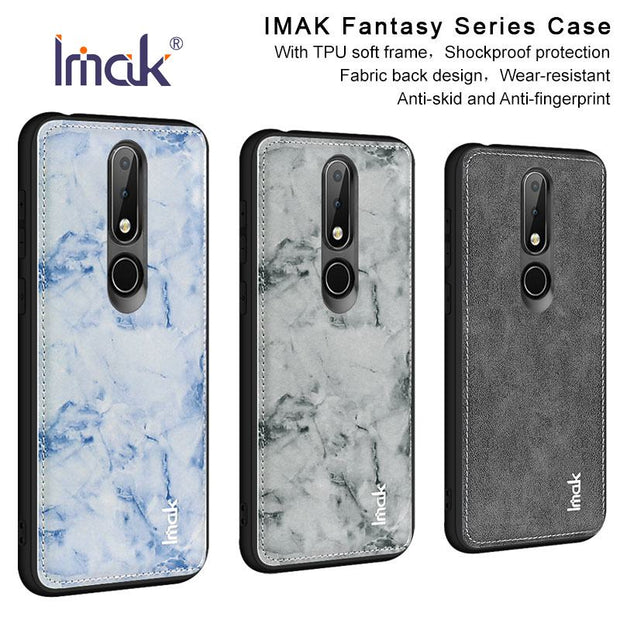 IMAK For Nokia 6.1 Plus Case For Nokia X6 Cover Fabric + PC + TPU Frame Shockproof Luxury Back Cover Armor Protective Shield