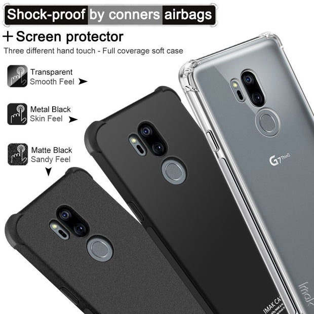 IMAK SFor LG G7 Case SFor LG G7 ThinQ Case Silicon Shockproof Airbags Soft TPU Back Cover Case For LG G7 ThinQ With Film