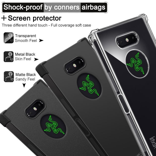 IMAK SFor Razer Phone 2 Case Cover Shockproof Soft TPU Silicone Back Cover Case For Razer Phone 2 With Screen Protector