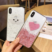 IWVX Glitter Powder Phone Case For IPhone 6 6S 7 8Plus Soft TPU Back Cover For IPhone X XS XR XS MAX Love Phone Case