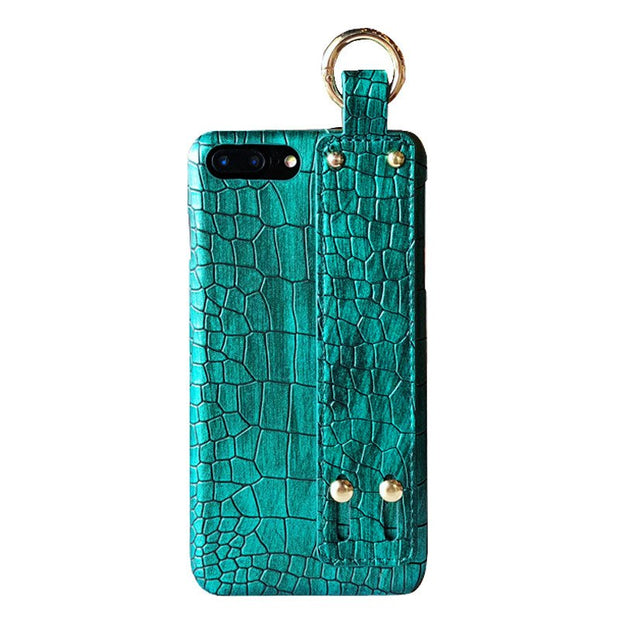 IphoneX Crocodile Phone Case XR Apple8 Plus Wrist Band Lanyard 6s Street Card 7 Half Leather Case