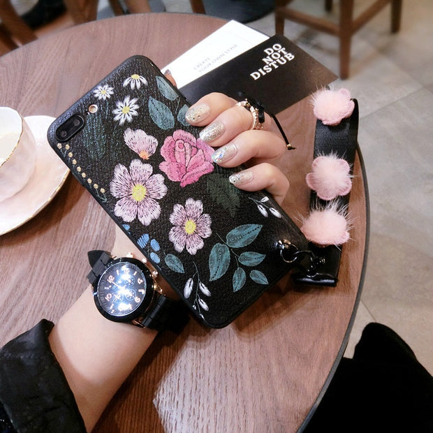 IphoneX Mobile Phone Shell Embossed Flowers Lanyard Bracket Apple8 Plus Silicone Sleeve All Inclusive Soft 7 Female Han 6