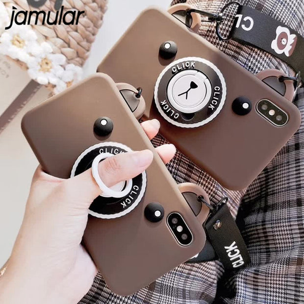 JAMULAR Cartoon Brown Bear Camera Phone Case For IPhone 7 8 Plus XS MAX 6S Plus With Lanyard Cases For IPhone X XS XR Soft Cover