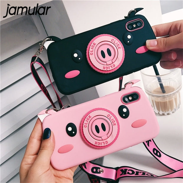 JAMULAR Pink Pig Nose Camera Phone Case For IPhone 7 8 Plus 6 6S Plus Cute Cartoon Cases For IPhone XS MAX X XS XR Soft Cover