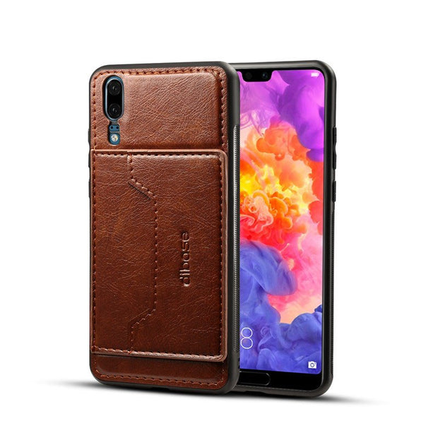 JIATEXIN TPU Bumper Case For Huawei P20 PU Leather Cover Shell For Huawei P20 Pro Stand Holder With Card Pocket Capa