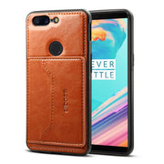 JIATEXIN TPU Bumper Case For OnePlus 5T PU Leather Cover Shell For One Plus 5T Stand Holder With Card Pocket Capa