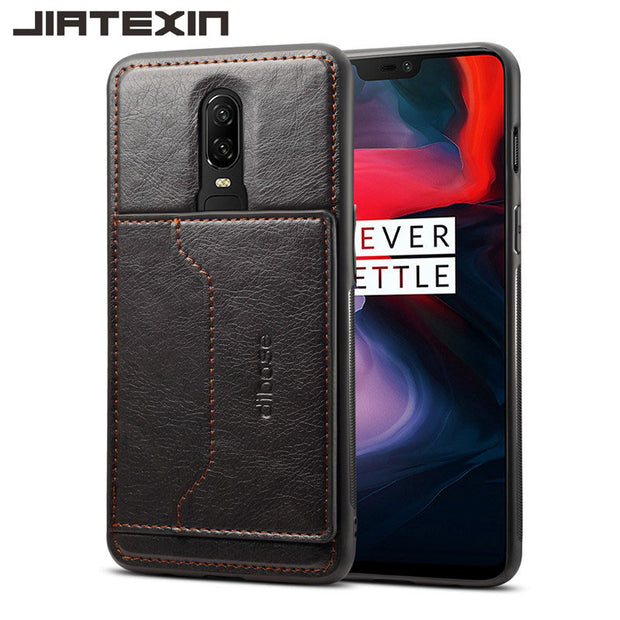 JIATEXIN TPU Bumper Case For OnePlus 6 PU Leather Cover Shell For One Plus 6 Stand Holder With Card Pocket Capa