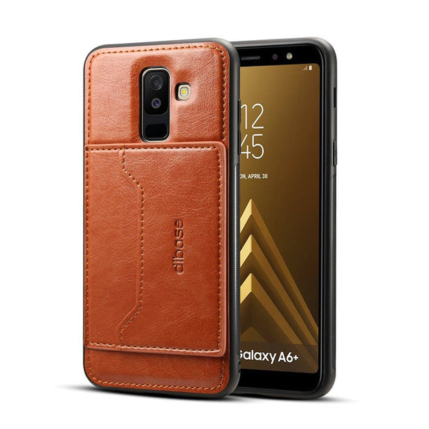JIATEXIN TPU Bumper Case For Samsung Galaxy A6 (2018) PU Leather Cover Shell For A6 Plus + (2018) Holder With Card Pocket Capa