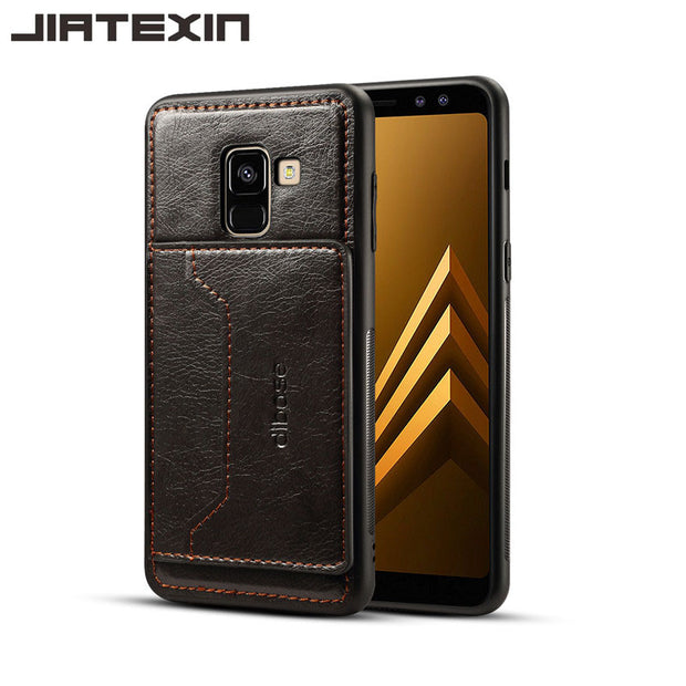 JIATEXIN TPU Bumper Case For Samsung Galaxy A8 (2018) PU Leather Cover Shell For A8 Plus + (2018) Holder With Card Pocket Capa