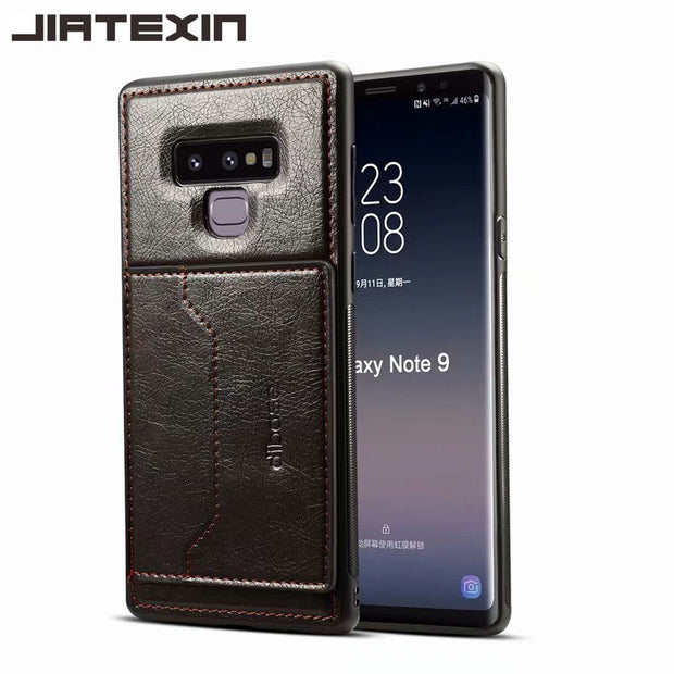 JIATEXIN TPU Bumper Case For Samsung Galaxy Note 9 PU Leather Cover Shell For Galaxy Note9 Holder With Card Pocket Capa Fundas