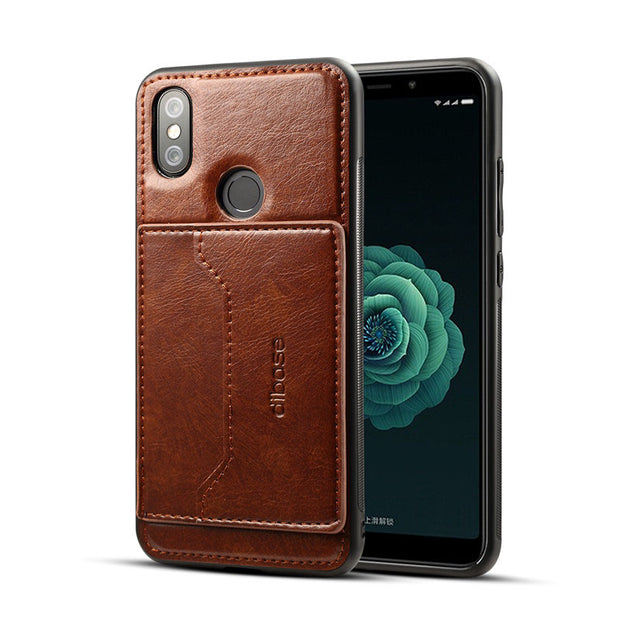 JIATEXIN TPU Bumper Case For Xiaomi Mi A2 PU Leather Cover Shell For Mi 6X Stand Holder With Card Pocket Capa