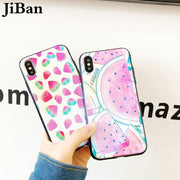 JiBan Cute Watermelon Summer Fresh Fruit Cases For Iphone X 6s 7 8 Plus Fashion Glossy Blue Ray Tempered Glass Back Cover Shell