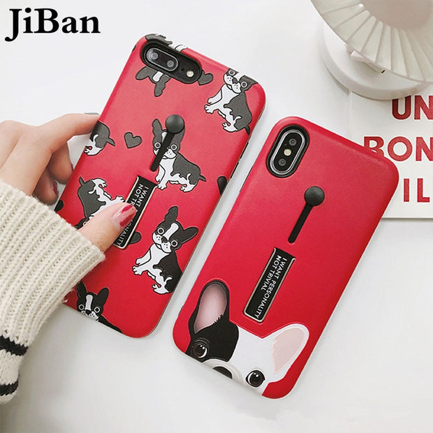 JiBan Fashion Cute Cartoon Animal Bulldog Case Stretch Ring Stander Holder Multi Function Phone Cover For Iphone X 6s 7 8 Plus