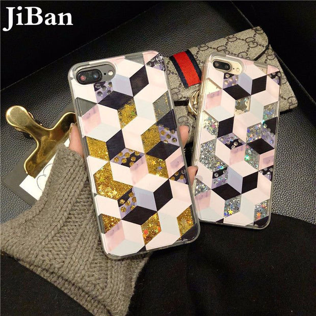 JiBan Fashion Simple Geometric Marble Case Dynamic Liquid Glitter Quicksand Star Back Phone Cover Shell For Iphone X 6s 7 8 Plus