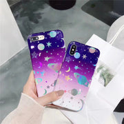 JiBan For Iphone X Cool Universe Planet Moon Star Phone Case For IPhone 6S 7 8 Plus Smooth Blu-Ray Cover Fashion Cartoon Cases